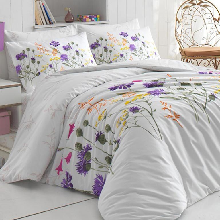 Bavlněné ložní povlečení Nergiz Lila fialové francouzská postel