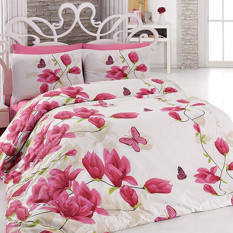 Bavlněné ložní povlečení Alize Pink růžové prodloužená délka