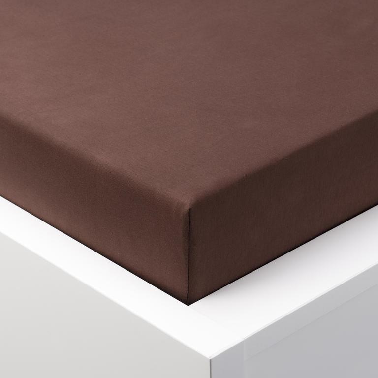 Napínací prostěradlo jersey EXCLUSIVE čokoládová jednolůžko 2 ks - 1