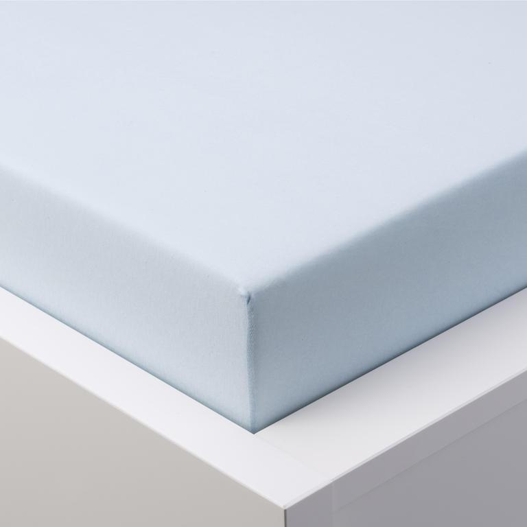 Hermann Cotton Napínací prostěradlo jersey s elastanem ledově modré 160 x 200 cm