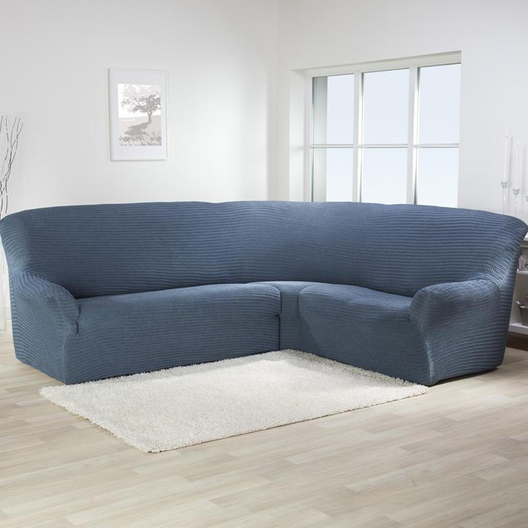 Bielastické potahy ADRIA blue jeans rohová sedačka (š. 350 - 530 cm)