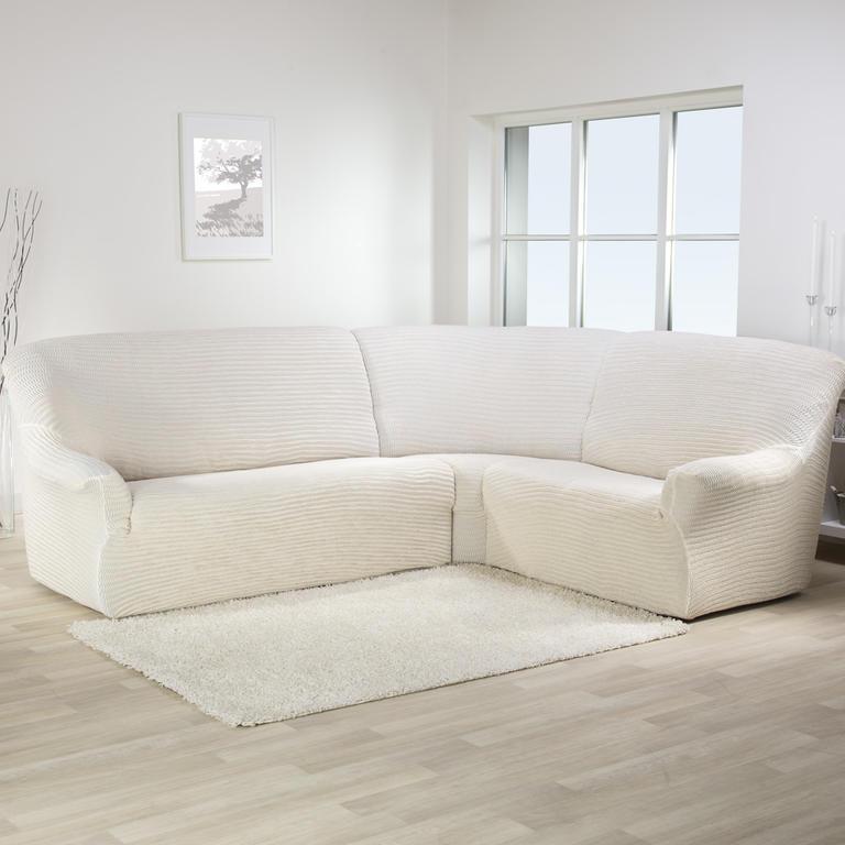 Bielastické potahy ADRIA béžová rohová sedačka (š. 350 - 530 cm)