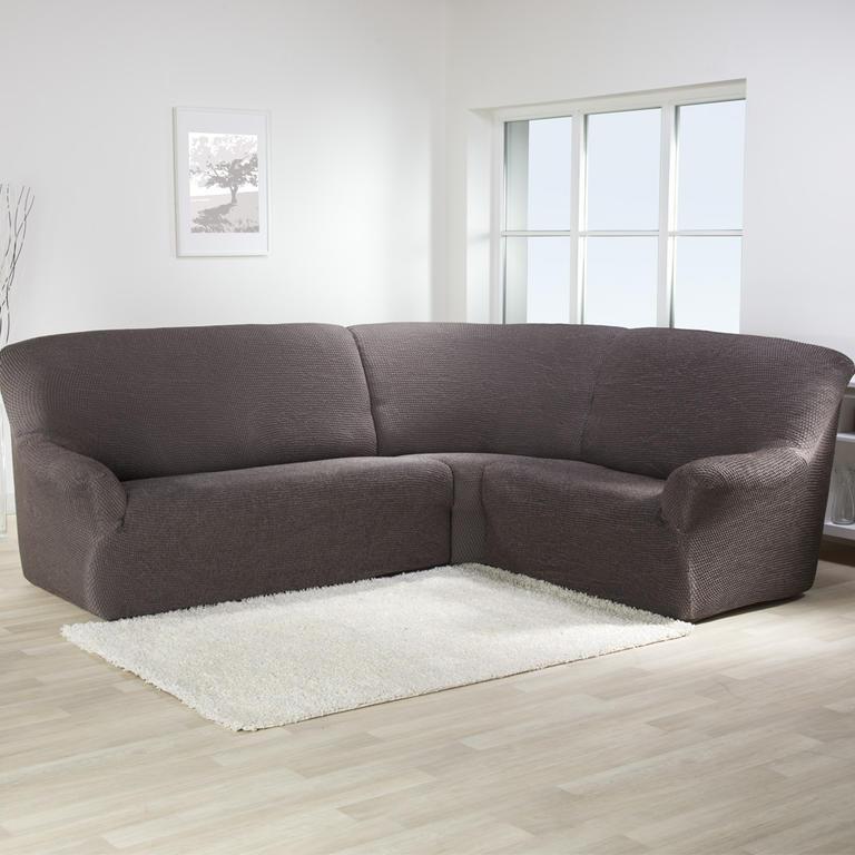 Bielastické potahy CAFFÉ hnědé rohová sedačka (š. 350 - 530 cm) - 1
