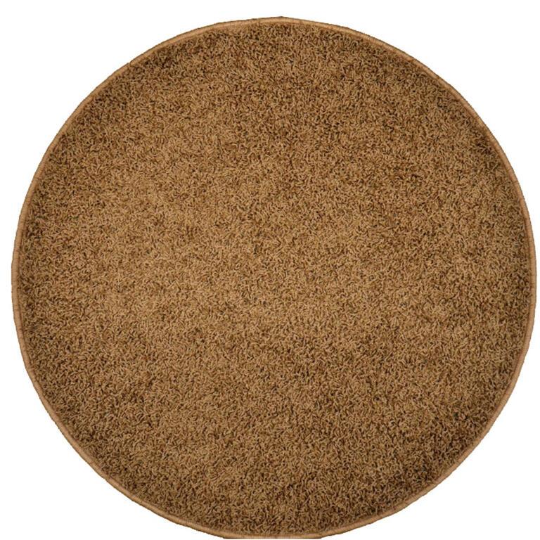 Kulatý koberec SHAGGY hnědý  - 1
