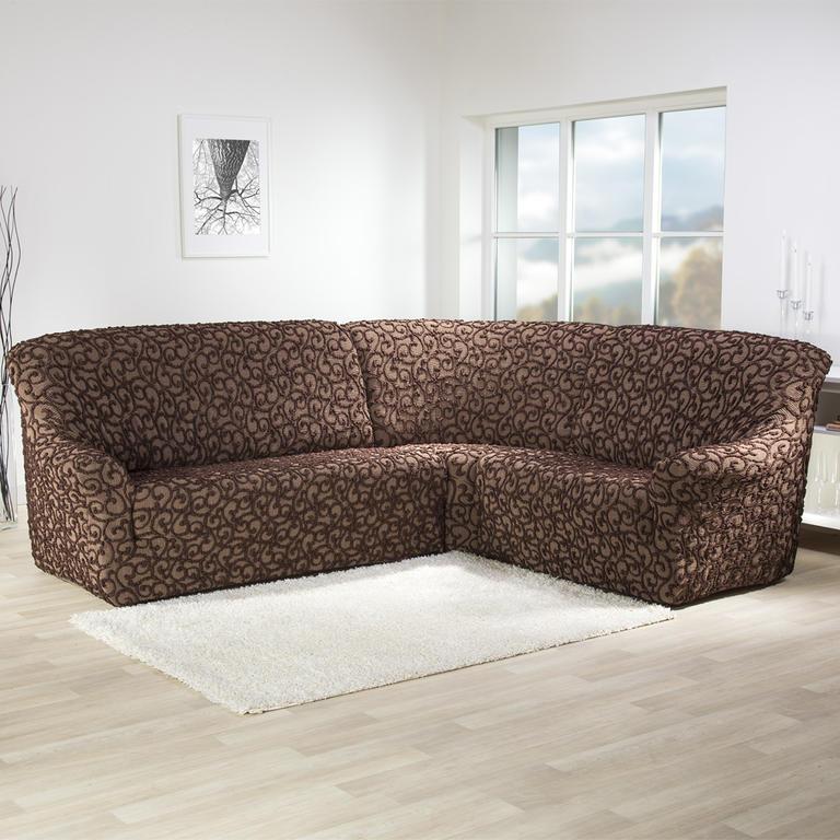 Super strečové potahy 3D DICKSON hnědé rohová sedačka (š. 340 - 540 cm)