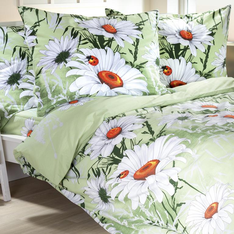 Bavlněné ložní povlečení Daisy světle zelené francouzská postel - 1
