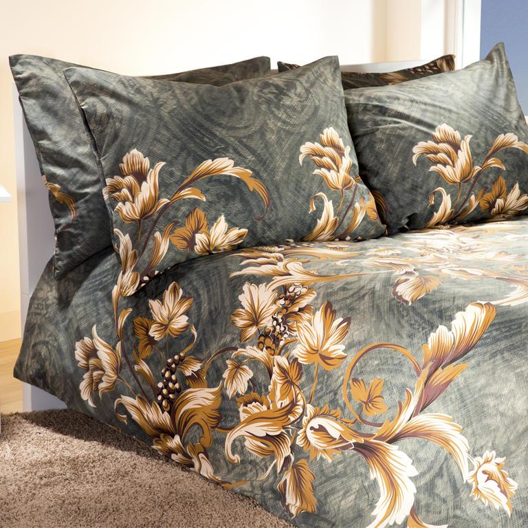 Bavlněné ložní povlečení Vine šedo zlaté francouzská postel - 1