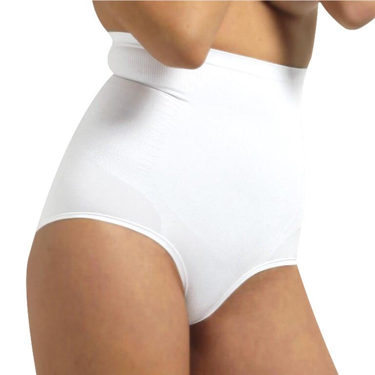 Stahovací kalhotky s vyšším pasem bílé S/M