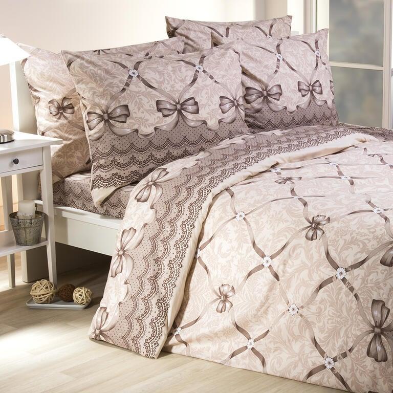 Bavlněné ložní povlečení Audrey hnědé francouzská postel