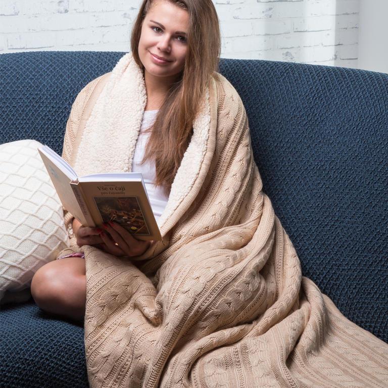 Pletená deka s beránkem béžová  - 1
