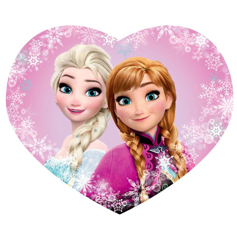 Jerry Fabrics Tvarovaný plněný polštář Frozen Elsa a Anna Srdce