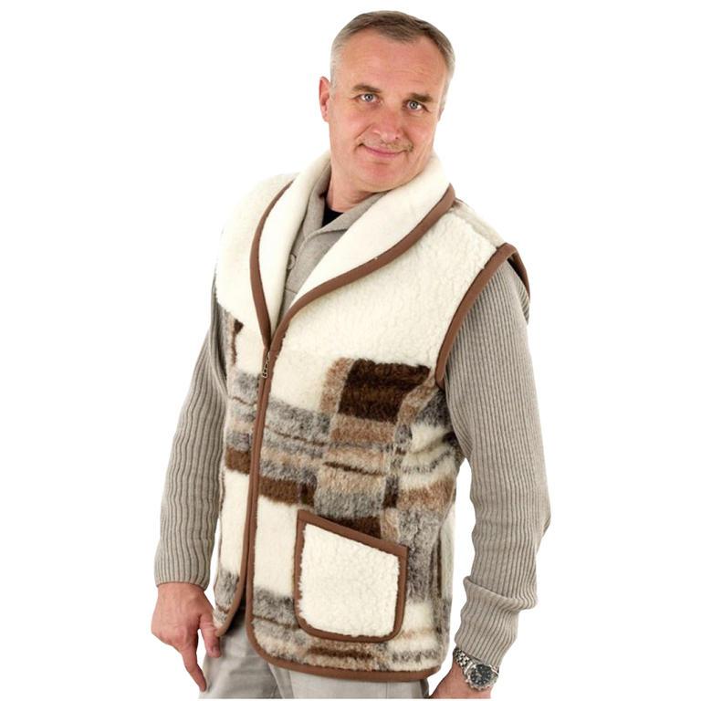 Pánská vesta se šálovým límcem z ovčí vlny Merino vel. 3XL - decoDoma 5791d8d381