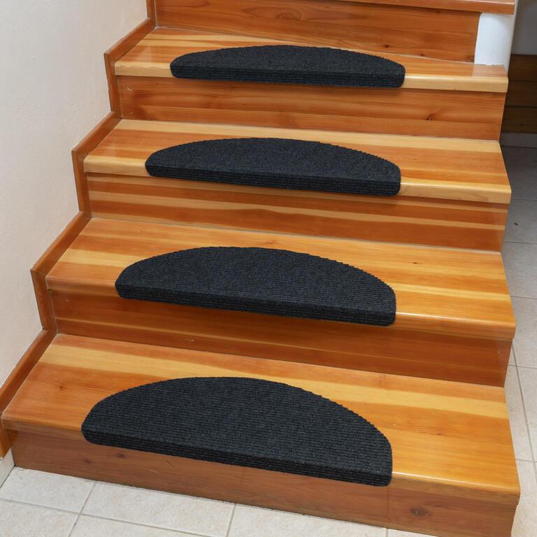 Koberec na schody QUICKSTEP půlkruh antracitový sada 10 kusů