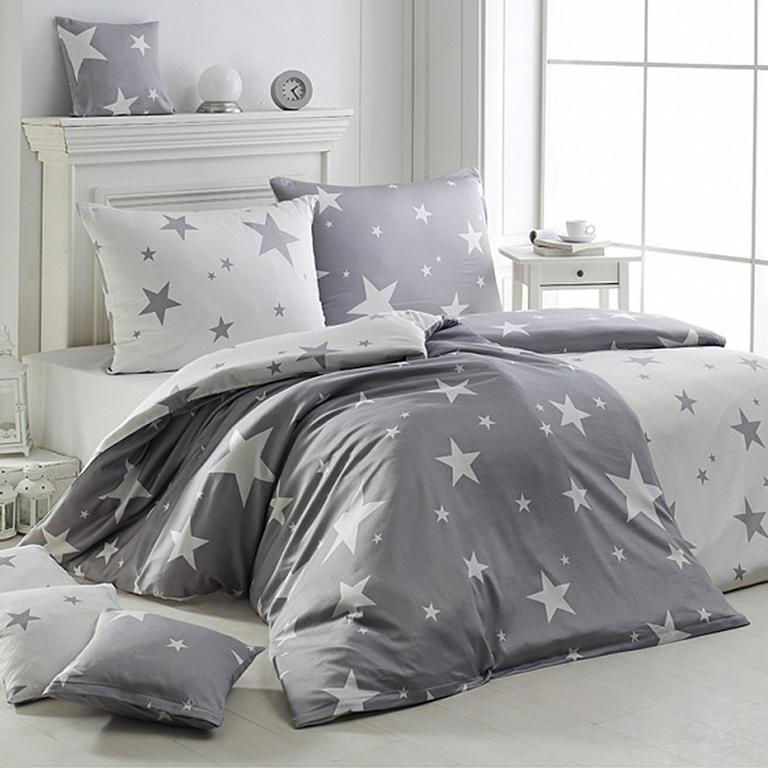 Matějovský Povlečení krep New Star grey 140x200 70x90