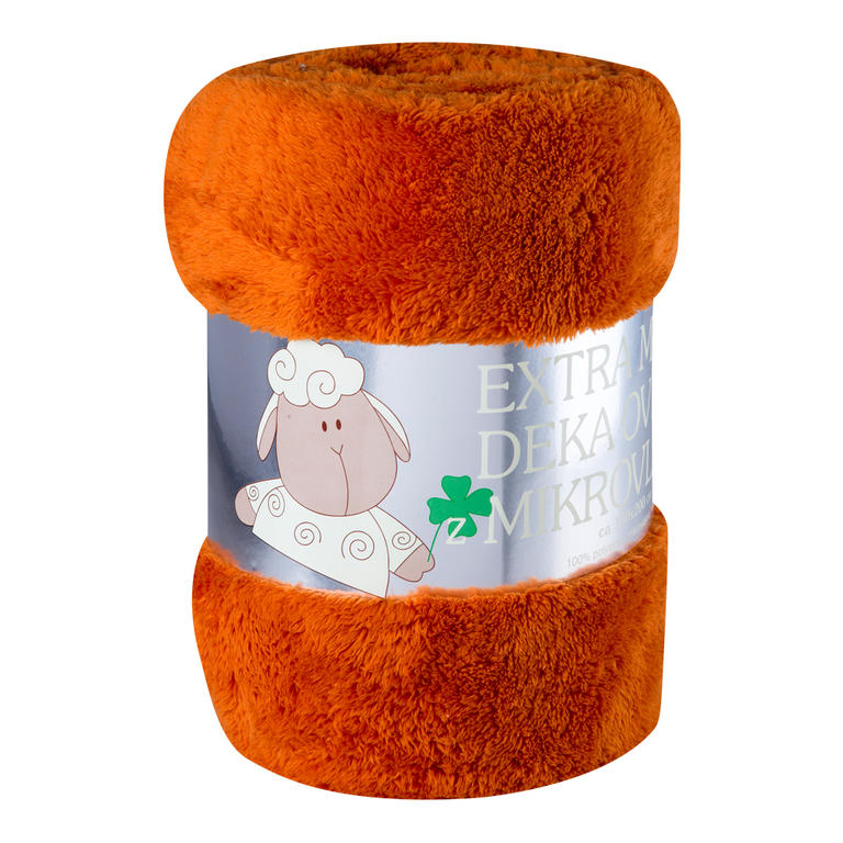 Oboustranná deka OVEČKA oranžová 150 x 200 cm
