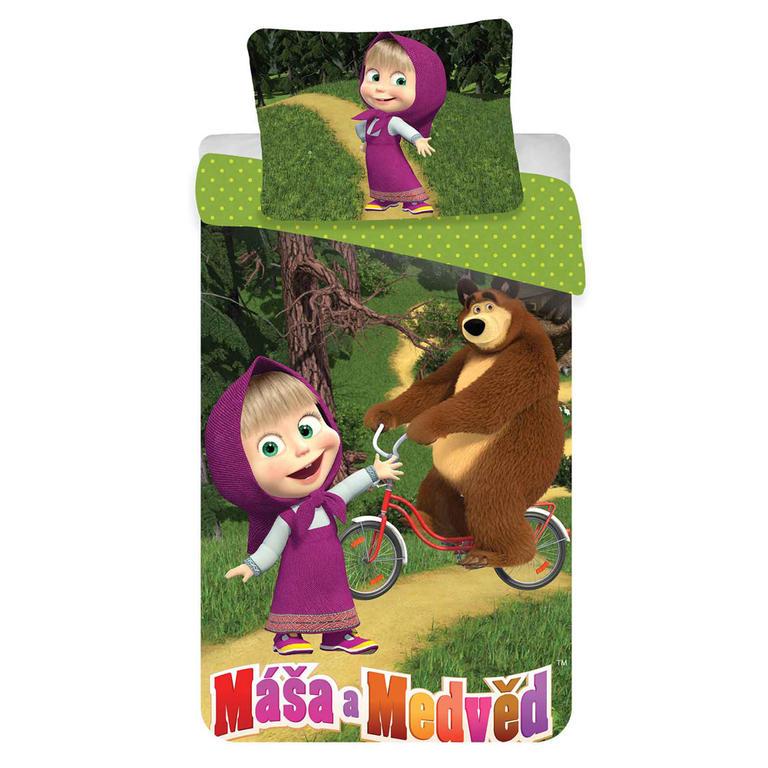 Dětské ložní povlečení Máša a medvěd na kole 140 x 200 cm, 70 x 90 cm