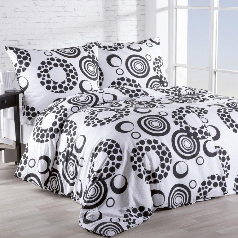 Krepové povlečení Kruhy černobílé 140 x 200 cm, 70 x 90 cm