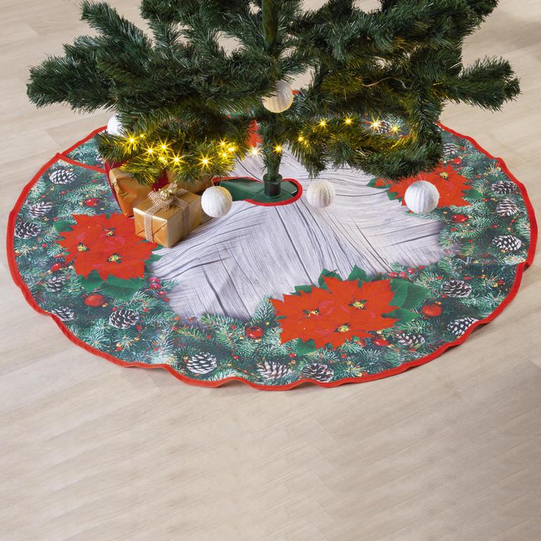 Vánoční kulatý ubrus pod stromeček POINSETTIA 120 cm