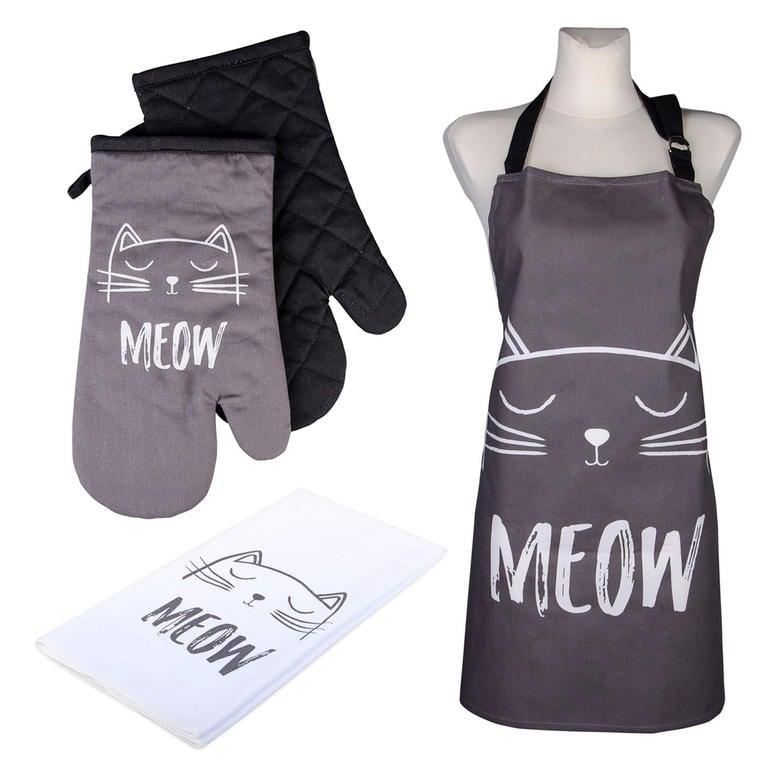 Novega Kuchyňská sada CATS Meow 2x chňapka, utěrka a zástěra