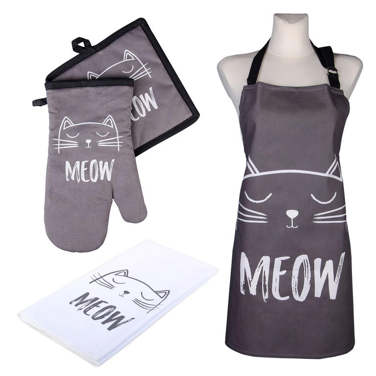 Novega Kuchyňská sada CATS Meow chňapka, podložka, utěrka a zástěra