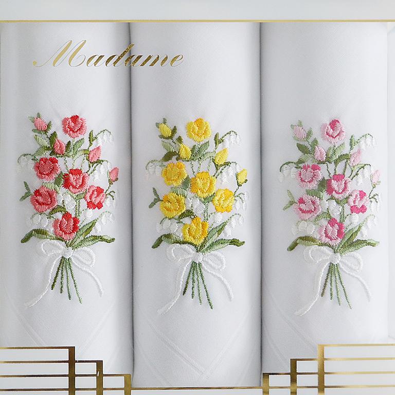 Mileta Dámské bavlněné kapesníky s výšivkou kytice růží sada 3ks