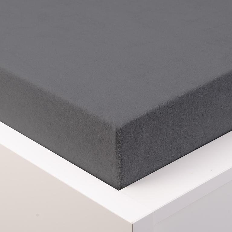 Hermann Cotton Napínací prostěradlo froté GRAND tmavě šedé 90 - 100 x 200 cm 2ks
