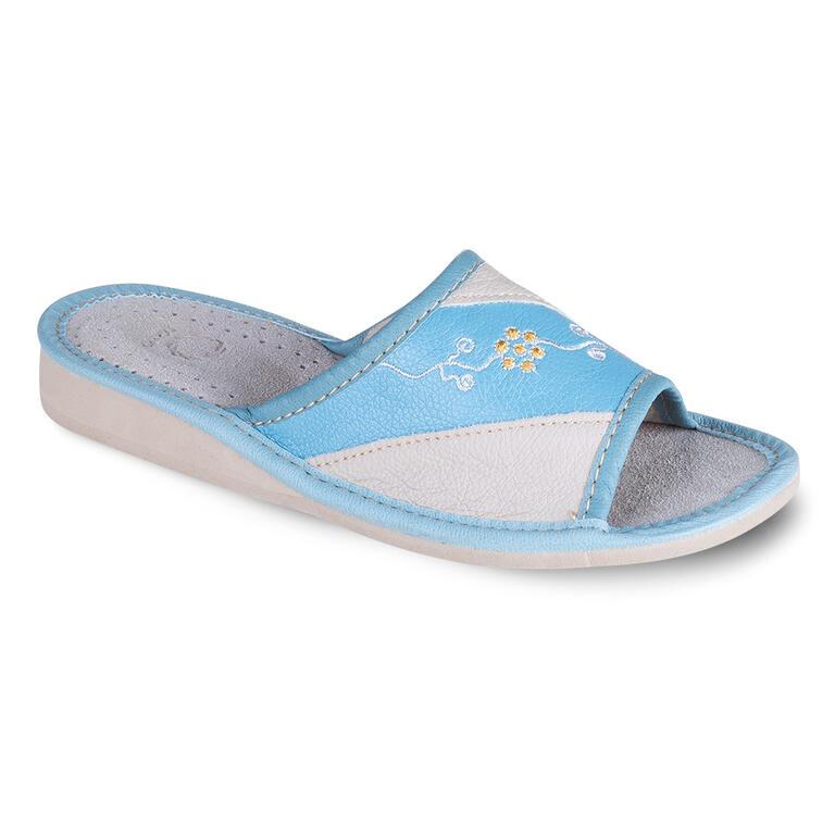Levně Dámské pantofle s výšivkou světle modré vel. 40