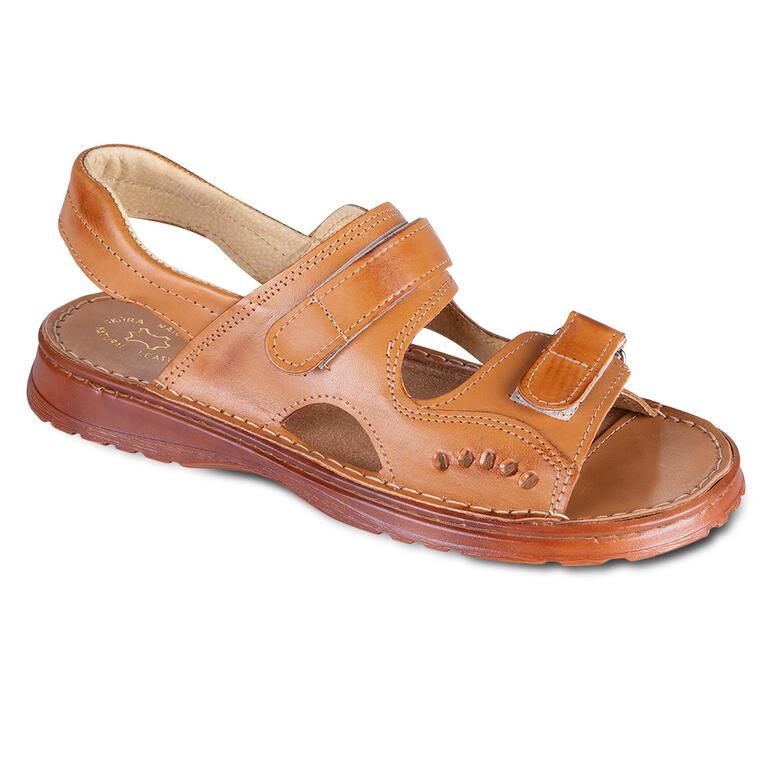 Levně Pánské kožené sandály na suchý zip vel. 44