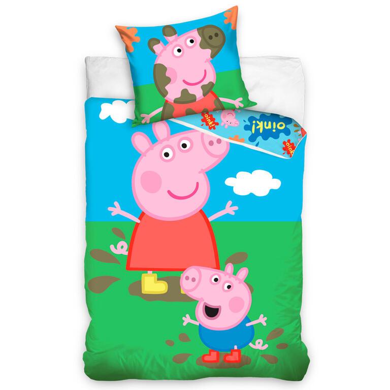 Tiptrade Povlečení PEPPA PIG A GEORGE bavlna 140x200 70x90 140 x 200 cm, 70 x 90 cm