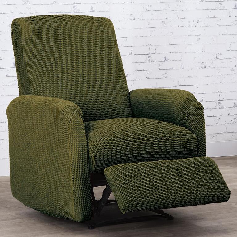 Super strečové potahy NIAGARA zelená relaxační křeslo ( š. 70 - 90 cm)
