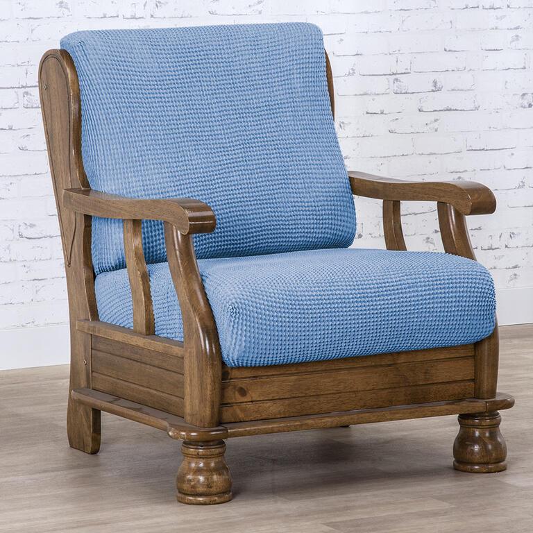 Super strečové potahy NIAGARA modrá křeslo s dřevěnými rukojeťmi (š. 50 - 80 cm)