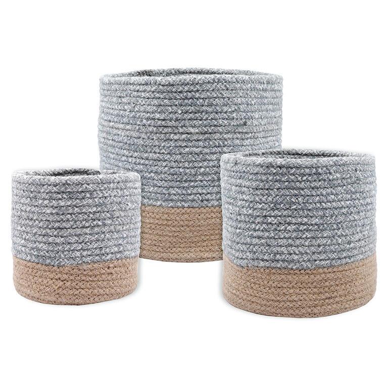 Sada 3 košíků z mořské trávy VANUA šedá