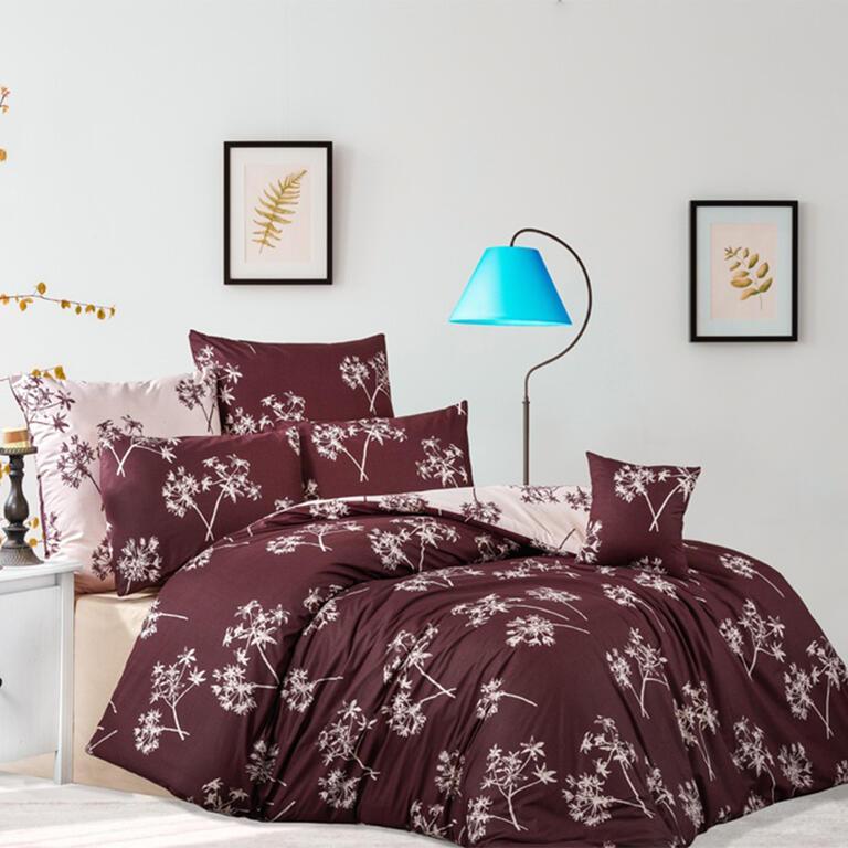 Bavlněné renforcé povlečení IDIL burgundy 200 x 220 cm, 2x 70 x 90 cm
