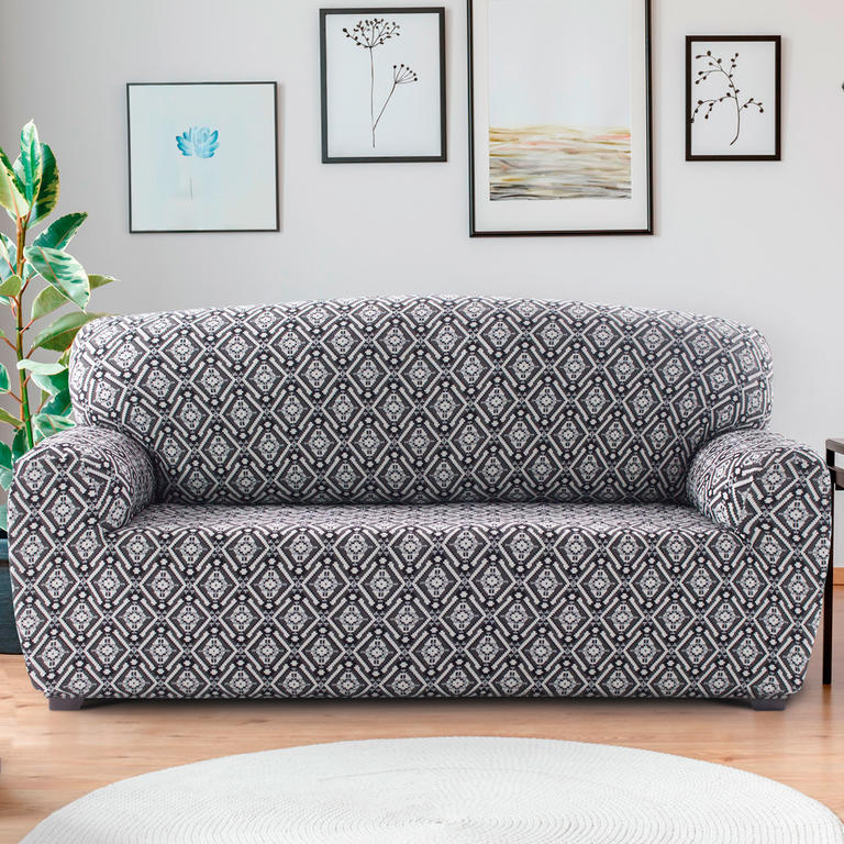 Nueva Textura Monoelastické potahy na sedací soupravuy ZUMA černobílé na sedačku - trojkřeslo 180 - 220 cm