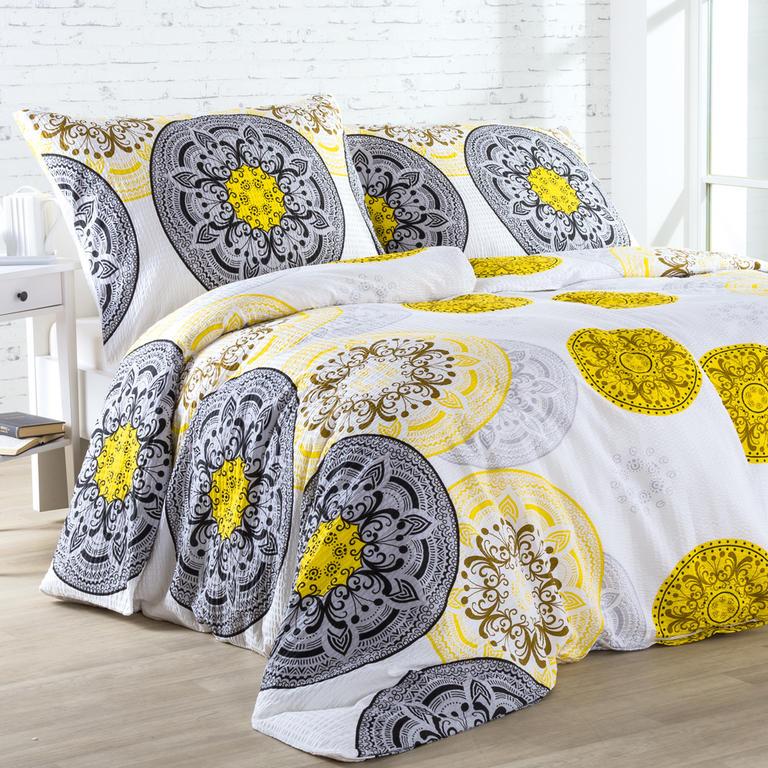 Krepové povlečení MANDALA žluto - černé 140 x 200 cm, 70 x 90 cm
