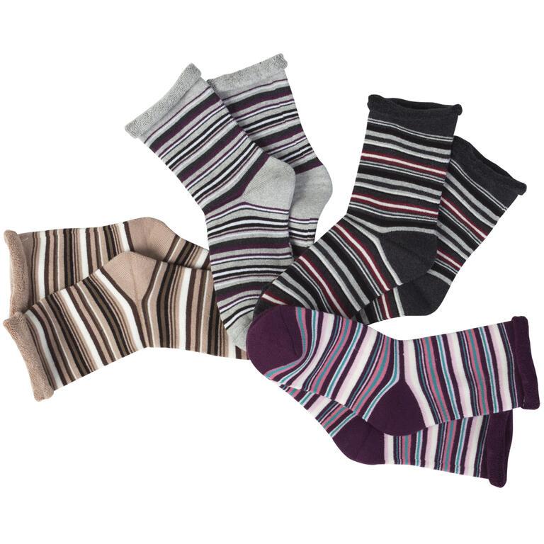 Hřejivé froté ponožky Proužky 5 párů  - 1