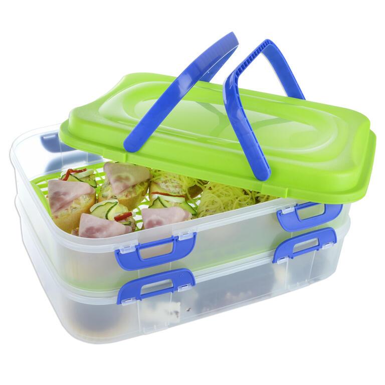Plastový přenosný box na potraviny 2 patra  - 2