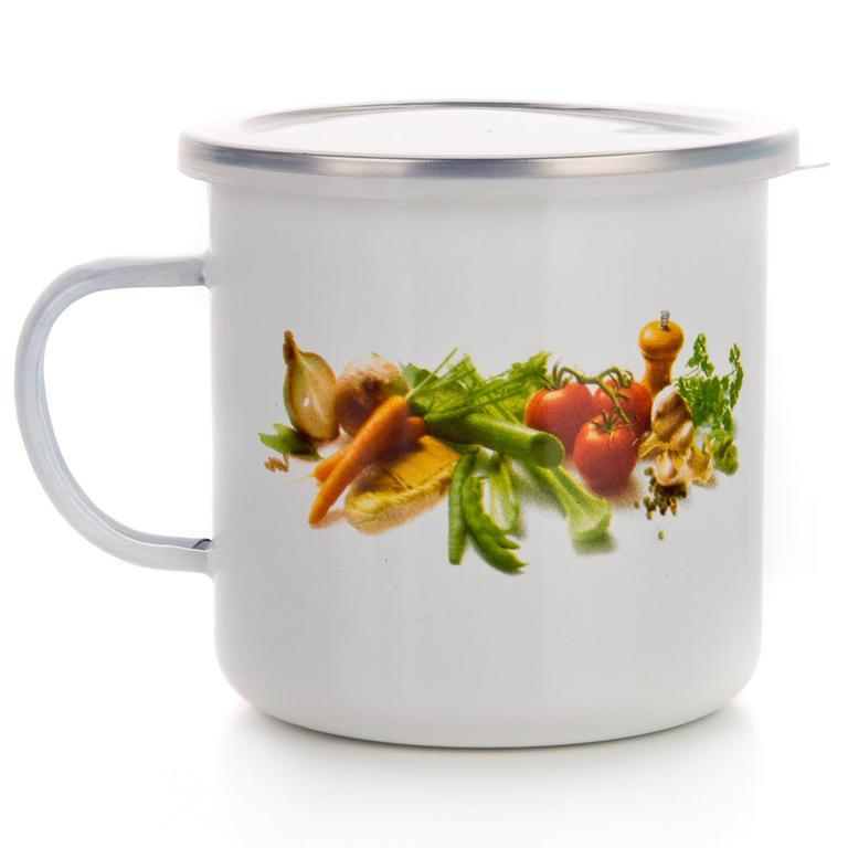 Smaltovaný hrnek zelenina, BANQUET 0,5 l - 2