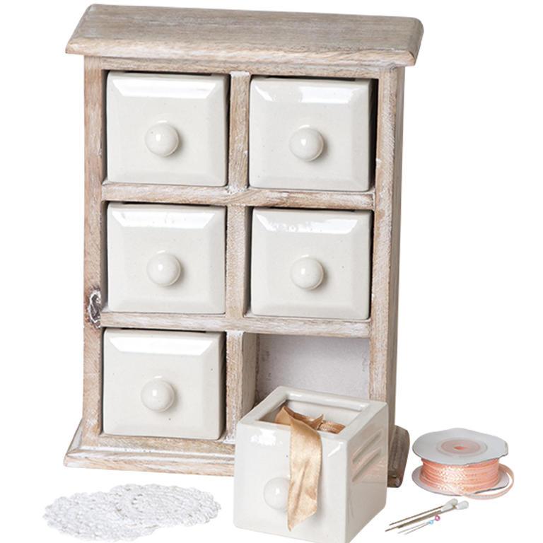 Dřevěná skříňka se 6 keramickými zásuvkami  - 2