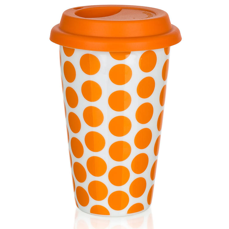 Dvoustěnný hrnek se silikonovým víčkem COLOR PLUS oranžový, BANQUET  - 2