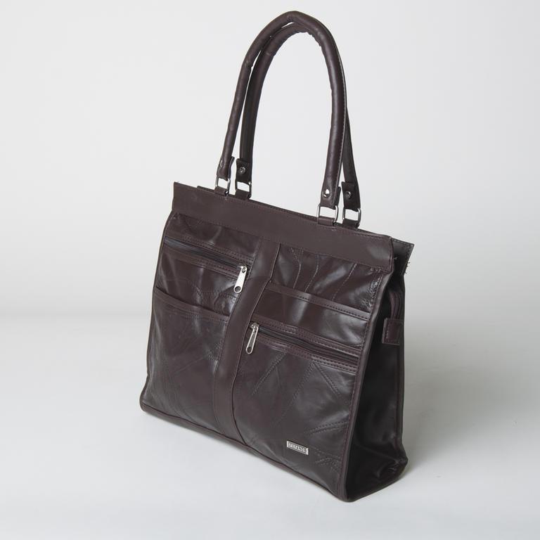 Elegantní kožená kabelka hnědá  - 2