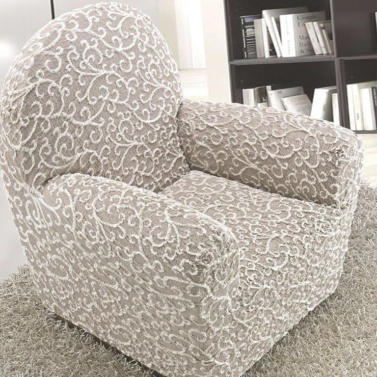 Bielastické potahy 3D ARABESCO béžové rohová sedačka (š. 350 - 530 cm) - 2