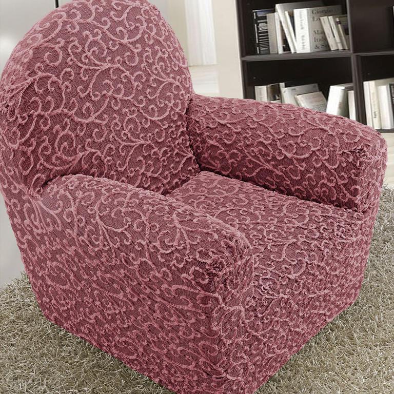 Bielastické potahy 3D ARABESCO bordó rohová sedačka (š. 350 - 530 cm) - 2