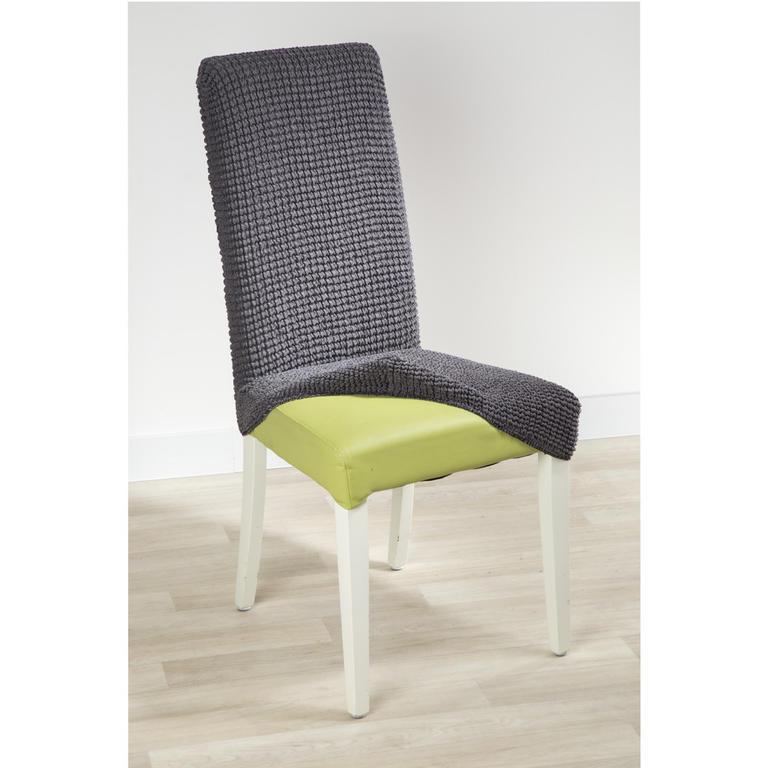 Super strečové potahy GLAMOUR šedé židle s opěradlem 2 ks 40 x 40 x 60 cm - 2