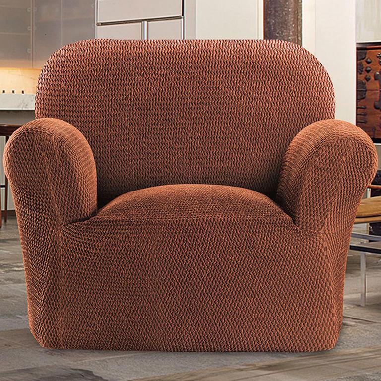 Bielastické potahy CAFFÉ cihlové rohová sedačka (š. 350 - 530 cm) - 2