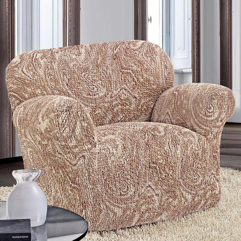 Bielastické potahy MAREA béžové rohová sedačka (š. 350 - 530 cm) - 2