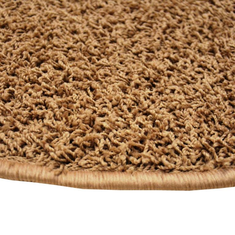 Kulatý koberec SHAGGY hnědý  - 2