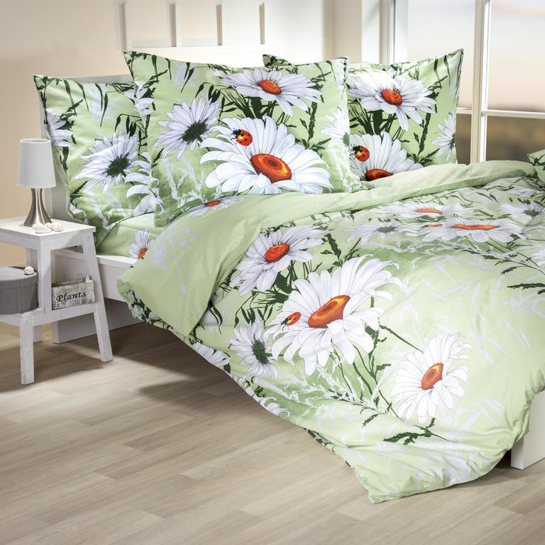 Bavlněné ložní povlečení Daisy světle zelené francouzská postel - 2