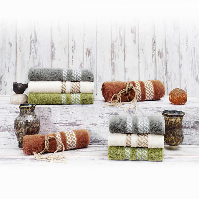 Bambusové ručníky Valencia krémové sada 2 kusů - 2