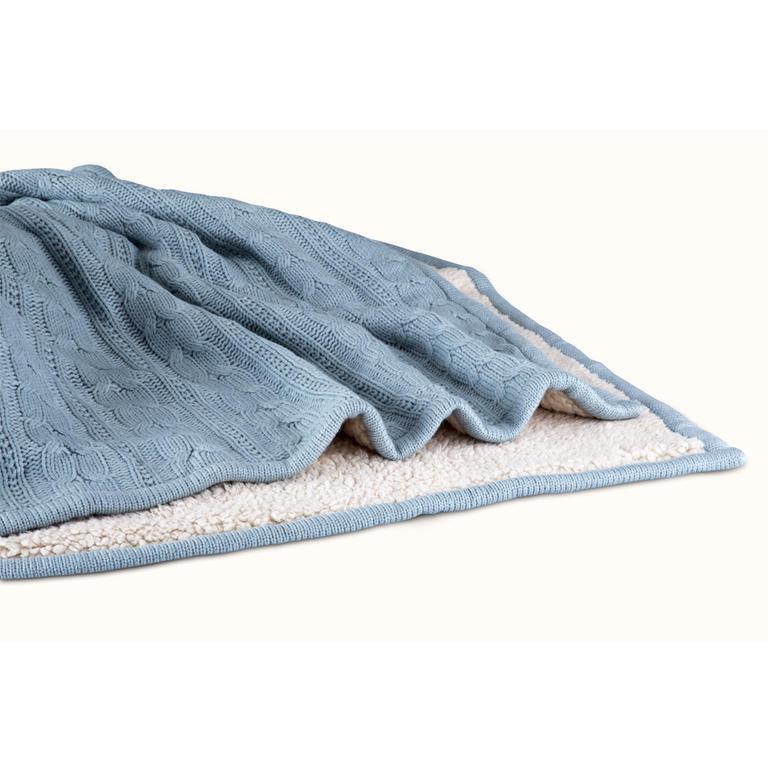 Pletená deka s beránkem šedomodrá  - 2